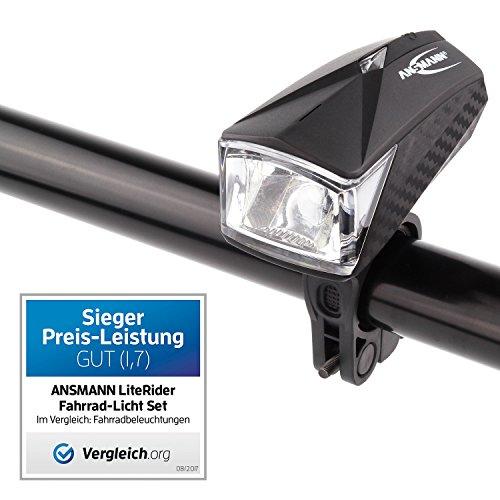 ANSMANN LiteRider StVZO Fahrradlicht LED Beleuchtungsset mit Frontlicht & Rücklicht – Fahrradlampe batteriebetrieben – zugelassen & abnehmbar – Beleuchtung für Fahrrad, Mountainbike, eBike, Rennrad - 2