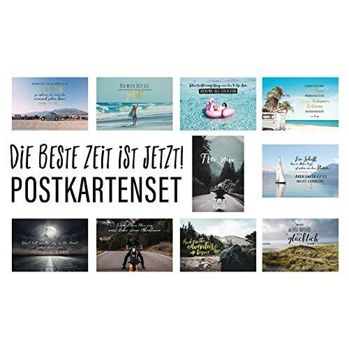 Him & I® Postkarten Set Die beste Zeit ist jetzt! - 10 verschiedene Postkarten mit Sprüchen & Zitaten - Freiheit, Abenteuer, Glück, Leben & Mut - Geschenkidee - inspirierende Spruchkarten mit Motiv