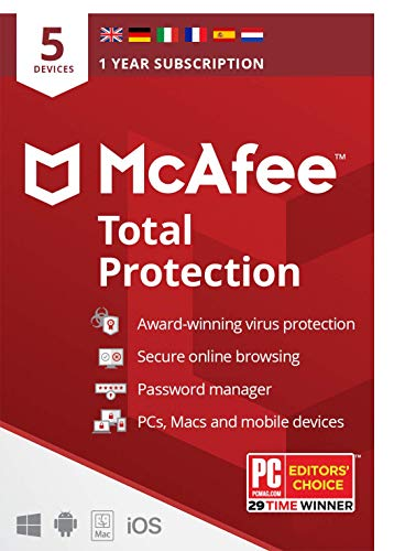 McAfee Total Protection | 5 Device | 1 Year | Antivirus Software, Internet Security, Password Manager, Mobile Security | PC/Mac/Android/iOS | European Edition| By Post, (Packaging may vary)