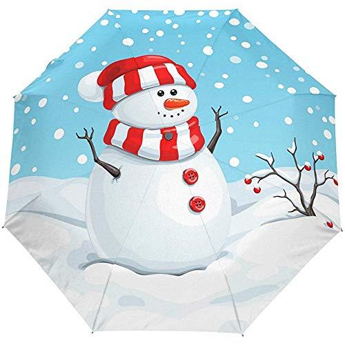 Hallo willkommen Winter saisonale schneemann niedlich Auto öffnen schließen Sonne Regen Regenschirm
