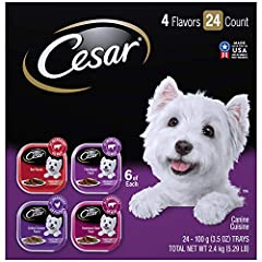 Contains one (1) 24-count case of 3.5 oz. trays of CESAR Wet Dog Food Classic Loaf in Sauce Beef Recipe, Filet Mignon, Grilled Chicken, & Porterhouse Steak Flavors Variety Pack: (6) Beef Recipe, (6) Filet Mignon Flavor, (6) Grilled Chicken Flavor, (6...