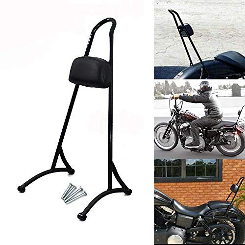 HTTMT 20' Tall Sissy Bar For 2004-2017 Harley Sportster Nightster Iron 883 1200 Backrest Detachable Back Rest Pad With Reflector Gloss Black [P/N:SBB016]