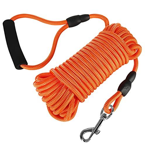 Vivifying Schleppleine, 10M Schwimmbares Langhundetrainingsseil mit Griff für Strand, See (Orange)