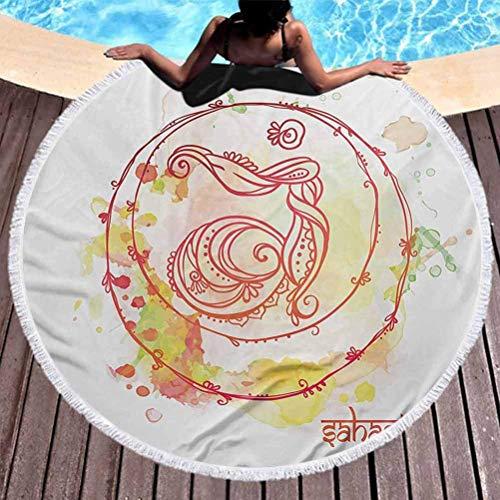Toalla de playa redonda Chakra Toalla de playa liviana Rueda de chakra redonda incompleta con salpicaduras de acuarela y pinceladas Imagen de suelo Toalla de playa de microfibra para viajes Rojo Amari