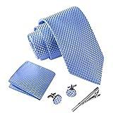 Massi Morino ® Herren Krawatte Set mit umfangreicher Geschenkbox blau blaue blaufarben hellblau blauekrawatte blue blassblau babyblau lichtblau himmelblau azur azurblau bluetie