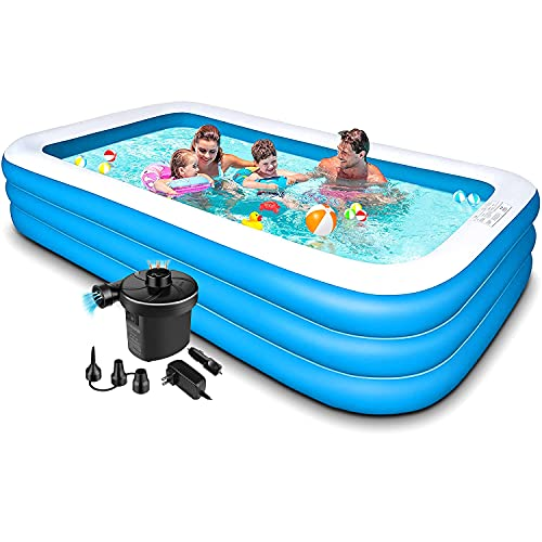 swimming pools for toddlers Swimming Pool for Kids and Adults - 120x72x22in Kiddie Pool with Pump,Piscinas para Adultos,Blow up Pool,Inflatable Pool,Kids Pools for Backyard,Toddlers,Family,Outdoor,Garden