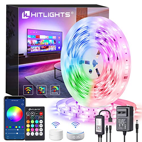 Smart WiFi LED Strip Lights, HitLights Wireless RGB 5050 LED Strip Kit 16.4FT 5050 Color Changing LED Tape Lights Working with Alexa, Google Home - APP Controlled Lights Strip for Home Kitchen TV