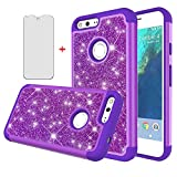 Phone Case for Google Pixel XL with Tempered Glass Screen Protector Cover and Bling Glitter Slim Hard Hybrid Rubber Silicone Cell Accessories Pixle 1 XL One Pixel1 1XL 2016 Cases Women Girls Purple