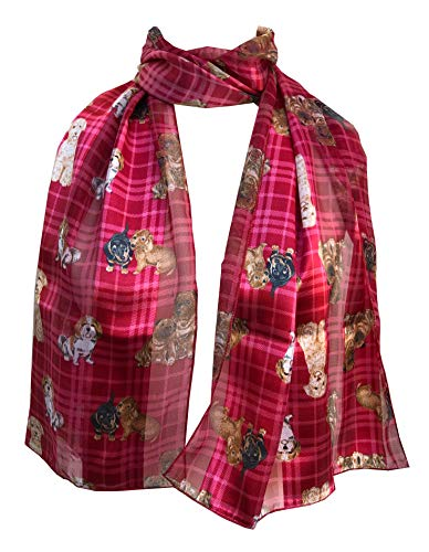 Pamper Yourself Now Rote Tartan glänzend Hund Schal mit verschiedenen Hunderassen, dünnen Langen Schal- Red Tartan Shiny Dog with Different Dog Breeds, Thin Long Scarf