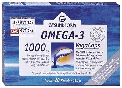GESUNDFORM Omega-3 1.000 mg Fischöl Kapseln, 1x20 Stk.