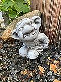 Steinfigur Troll-Gnom Frostfest Gartenfiguren für Haus und Garten