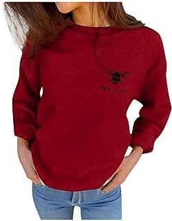 Sweatshirt Women's Letters Bee Print Casual Pullover Long Sleeve Sweatshirts Top Blouse Outerwear