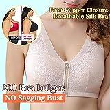 VigasMart Front Zipper Closure Wirefree Extra Breathable Silk Bra The Gentle Bra Curve Bra (Nude,XL 36C/36D-38A/38B)