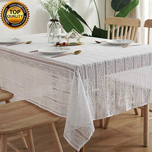 DÉCOCO Mantel de Encaje Blanco Hueco a Rayas para decoración de Bodas, 150 x 200 cm, Color Blanco