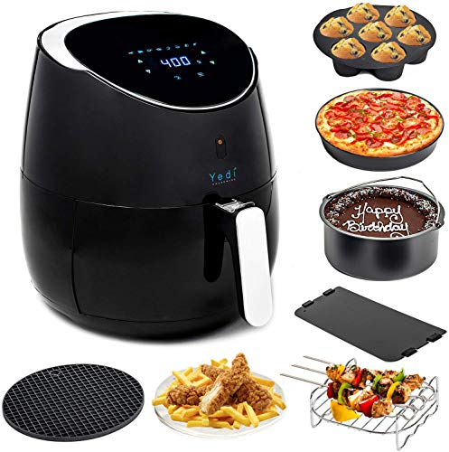 Yedi Total Package XL Air Fryer, Deluxe Accessory Kit, 100 Recipes Included, Cooking Basket Divider, 2Yr Warranty. Healthy Air Crisper Oiless Oven (5.8 QT) (Renewed)