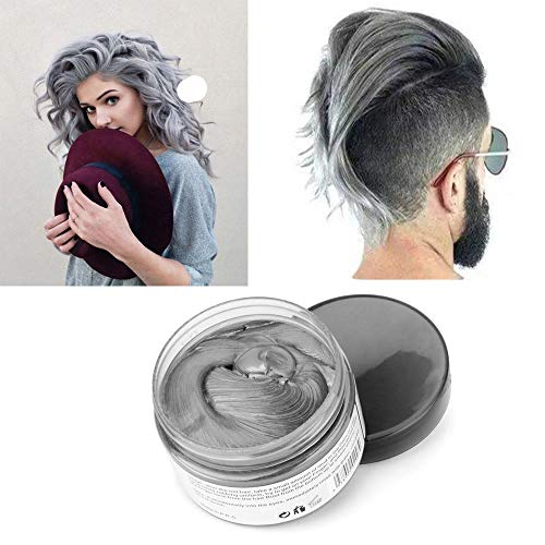 Silver Grey Hair Color Wax, Natural Hairstyle Wax 4.23 oz, Temporary Hairstyle Cream for Party, Cosplay, Halloween, Daily use, Date, Clubbing (Silver Grey)