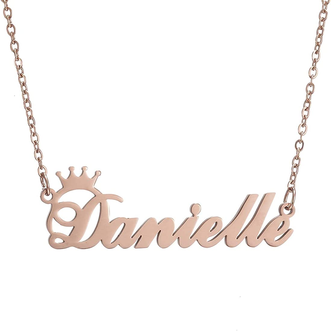SKQIR Personalized Name Necklace Rose Gold Custom, Customized Chains Name Pendants Necklaces Personalized Name Necklace with Crown for Women Girl Gift