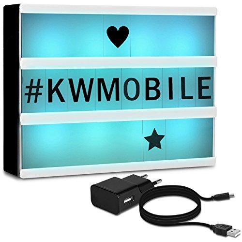 kwmobile Farbwechsel LED Lichtbox A4-7 Farben 126 Schwarze Buchstaben USB Netzteil - Cinema Lightbox - Deko Licht Leuchtkasten - Light Box Leuchte