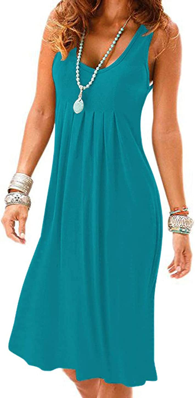 Camisunny Women Casual Loose Tank Dresses Sleeveless Beach Vacation Dress Swing Pleated U Neck Fashion Soft