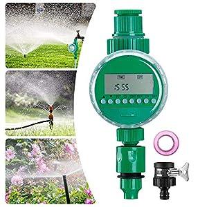 Queta Temporizador de Riego Automático, Programador de Riego Jardín con Digital Pantalla LCD, Reloj de Riego con Protectora Impermeable para Agricultura Invernadero Jardín Irrigación
