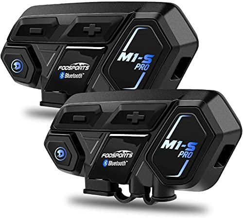 FODSPORTS M1S PRO Interfono Moto Bluetooth Auricolari Casco Coppia Con Hi-Fi,CVC Riduzione Rumore,Auricolare Casco Moto Supporta Interfono Per 8 Motociclisti Simultaneo Entro 2000m,Mani libere