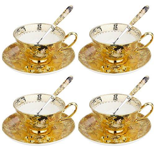 Artvigor, Porzellan Kaffeeservice, 12 TLG. Kaffee Set für 4 Personen, Beinhaltet Kaffeetassen, Untersetzer und Löffel