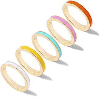 5 Pcs Simple Colorful Bands Stacking Rings Set Boho Enamel Knuckle Ring Sets Gold Joint Midi Multiple Finger Rings for Wom...