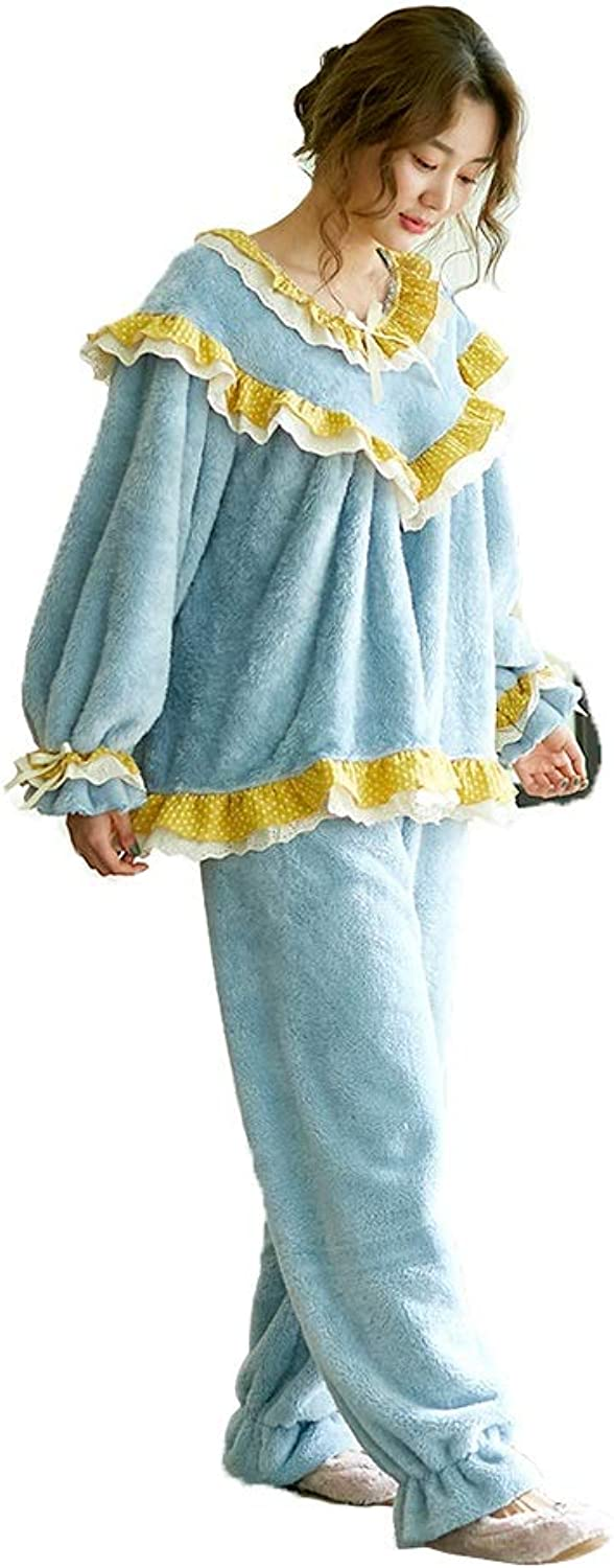 Pajama Sets Pajamas Ladies Autumn and Winter Home Service Bathrobes Warm Thick Round Neck (color   bluee, Size   L)