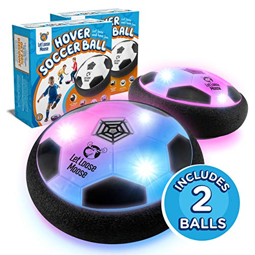 Hover Football – Set of 2- Indoor Hover Ball with LED Lights and Soft Foam Bumpers to Protect Furniture – Best Hover Soccer Ball for Kids & Soccer Toys & Gifts for 3-12 Year Old Boys & Girls.