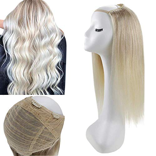 Full Shine Upart Remy Brazilian Lace Wig 22 Inch Color 18 Ash Blonde Highlight Color 22 Blonde Fading To 60 Glueless Half Wigs Invisible Hair Piece With Clips 150 Grams