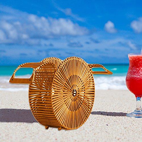 Sacs à main en bambou, faite à la main en bambou Sac d'été de plage Mer Sac à main en bambou Sac de plage Ark en bambou Sac à main d'embrayage pour femme L