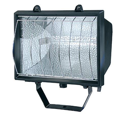 Brennenstuhl Projecteur halogène étanche (IP 54) avec grille de protection chromée, spot avec lampe halogène (1000 W), à installer, noir, Quantité : 1