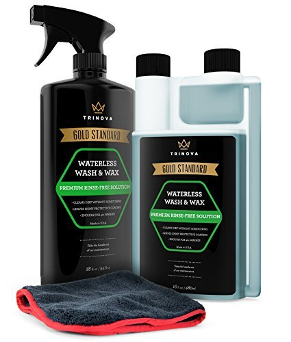 TriNova Waterless Car Wash and Wax Kit - Bug Remover - Clean and Protect Paint of Truck, SUV, Boat, RV or Vehicle with one Quick Application. Concentrated Formula for Best Value