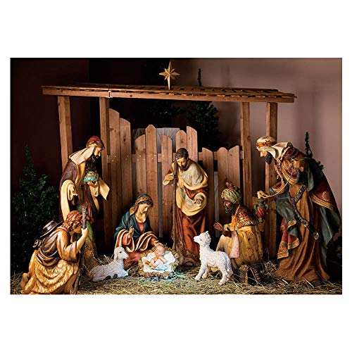 Funnytree 7x5ft Christmas Manger Scene Photography Backdrop Jesus Christian Holy Night Nativity Photographic Background Merry Xmas Portrait Photobooth Banner Party Decorations Photo Studio Props