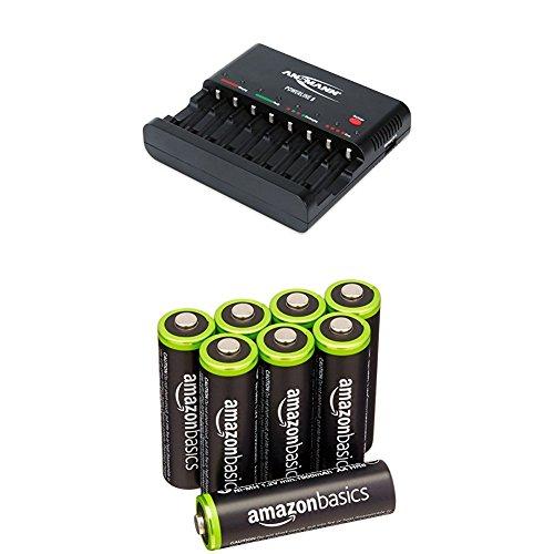 ANSMANN Batterieladegerät Powerline 8 für Akku Batterien - Universal Ladegerät, 8-fach multi Akkuladegerät zum Laden & Entladen & Amazon Basics Vorgeladene Ni-MH AA-Akkus - Akkubatterien 8 Stck