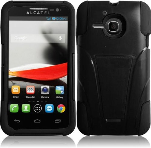 Pleasing Black Premium Double Protection 2 in 1 Hard + Silicon Hybrid Challenger Case Cover Protector with Kickstand for Alcatel One Touch Evolve 5020T 5020 (by Metro PCS / T-Mobile) with Free Gift Reliable Accessory Pen