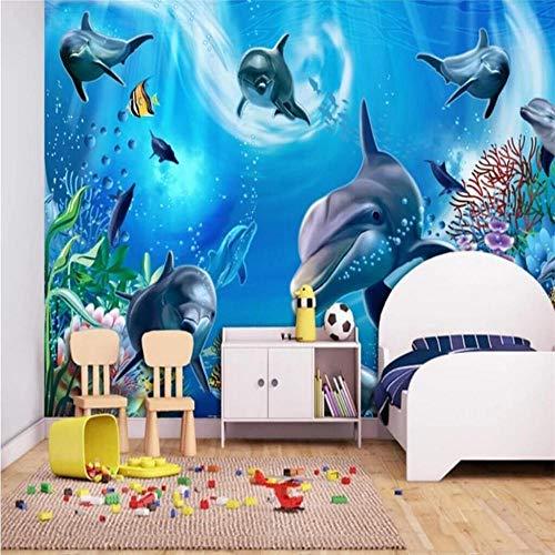 Mural Wallpaper Wall Murals3D Undersea World Aquarium Kinderkamer Cartoon Achtergrond Muur Fabrikant Groothandel Wallpaper Mural Op maat gemaakte fotomuur About 150*105cm 2 stripe