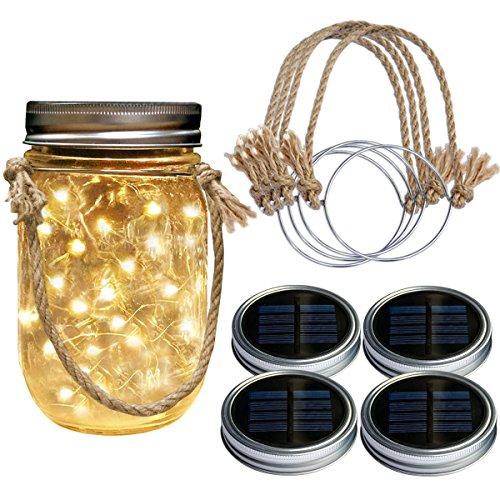 Homeleo 4Pack Farmhouse Rustic Solar Mason Jar Lights w/ Burlap Hangers, Solar Powered Warm Glass Firefly Fairy Lights for Outdoor Garden Summer Backyard Gazebo Balcony Decorations(Jars Not Included)