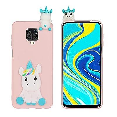 HopMore Funda para Xiaomi Redmi Note 9 Pro/Note 9S /Note 9 Pro MAX Silicona Blando Divertidas Animal Carcasa Dibujo 3D TPU Ultrafina Slim Case Antigolpes Caso Cover Gracioso - Unicornio Rosa