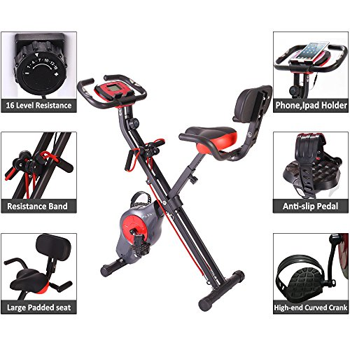 PLENY Folding Fitness Exercise Bike with Resistance Bands, 16 Level Resistance and Phone/Tablet Holder