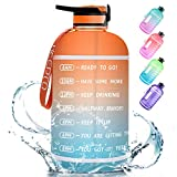 128oz Leak Proof Water Bottle - Drinking Water Jugs with Time Marker & Straw Sports Large Water Jug Bottles for Fitness(Included Straw Brush)