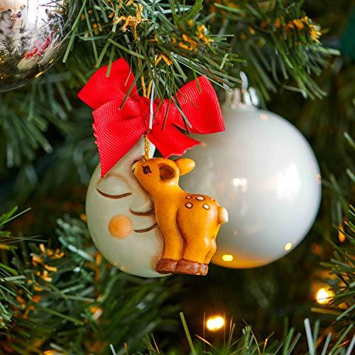 THUN - Addobbo Cerbiatto con Luna per Albero di Natale - Formato Grande - Ceramica - Linea Preludio d'inverno - 6x6,3x3,8 cm