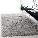 Safavieh Polar Shag Collection PSG800D Solid Glam 3-inch Extra Thick Area Rug, 3' x 5', Silver