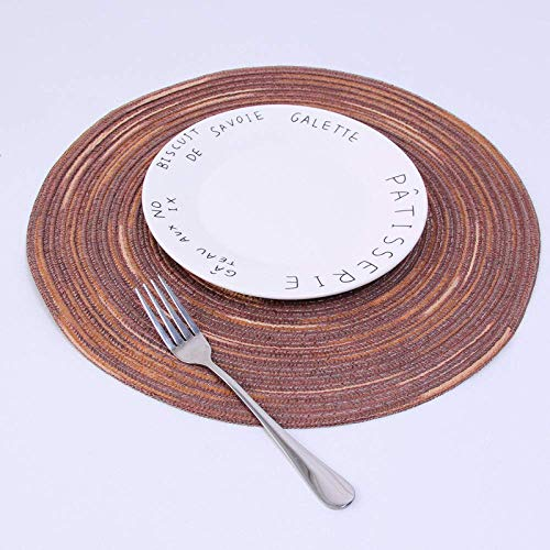 LYMUP Place Mats,Round Brown Satin NonSlip Table Mat,Linen Waterproof Easy To Clean Insulation Soft Mat,Table Tableware Mats Kitchen Accessories Decoration (Size : 4pcs)