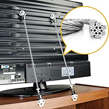 Metal TV Safety Straps  2-Pack  Heavy Duty Furniture & TV Anti Tip Straps   Sturdy Hardware Included