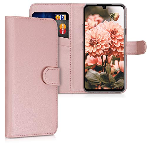 kwmobile Wallet Hülle kompatibel mit LG G8X ThinQ - Hülle Kunstleder mit Kartenfächern Stand in Rosegold