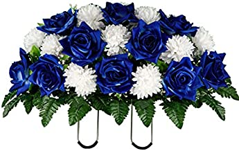 Sympathy Silks Artificial Cemetery Flowers - Realistic - Outdoor Grave Decorations - Non-Bleed Colors, and Easy Fit - Sapphire Blue Open Rose with White Mum Saddle for Headstone
