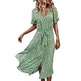 Eghunooye Vestido de verano para mujer, manga corta, cuello en V, vestido de playa con botones, vestido de camisa Midi, vestido de ocio, con cinturón verde L