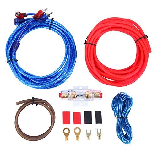 Honhill 1 Jeu Audio de Voiture connecté ampli de Calibre 10 amplificateur de câblage Filaire kit d'installation Haut-Parleur subwoofer