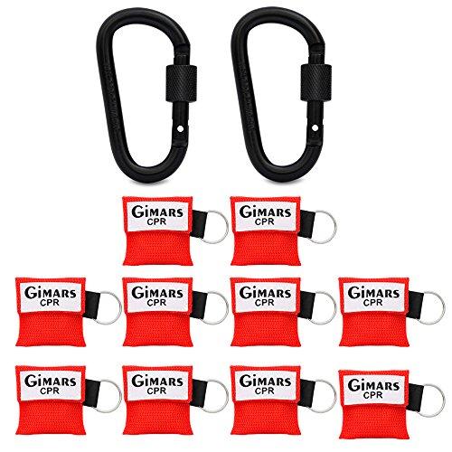 Gimars 10 Stücke CPR Maske mit Karabinerhaken CPR Mask Beatmungsmaske Schlüsselanhänger Beatmungshilfe Notfalltuch Taschenmaske Erste Hilfe
